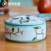 Wholesale Charming hand painting ceramic Jewelry Box floral birds pattern ceramic Ring Box Home decoration