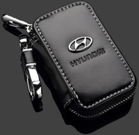 Wholesale Car Key Case Premium Leather Car Key Chains for Hyundai with Holder Zipper Remote Wallet Bag Hyundai Remote Key Bag key cover accessories