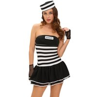 Wholesale New Custom Made Holloween Costume Women Cosplay Sexy Guilty Prisoner Costume Dress