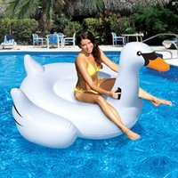Wholesale 150cm Giant Inflatable Swan Flamingo Ride On Pool Toys Float Inflatable Swan For Pool Swim Ring Water Fun Pool New Toys