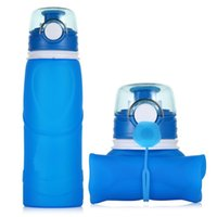 Wholesale Collapsible Water Bottle Food Grade Silicone BPA Free For Outdoor Sports Capming Hiking OEM Logo