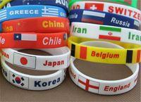 Wholesale Unisex National flag Silicone Jel bracelet World cup European cup Olympic Games souvenir bracelets bangle men women children wristband rope
