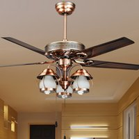 aluminum ceiling fans - Retro Technology Chandelier Fan lamp Iron Flower Light Indoor Ceiling Lamp