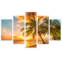 Большой размер 5 Панели Современные Морской пейзаж Жикле отпечатки на холсте Картины Sunset Beach Фотографии Картины на холсте стены искусства для жизни декор комнаты