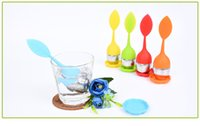 Wholesale 2016 New silicon tea infuser Leaf Silicone Tea Infuser with Food Grade make tea bag filter creative Stainless Steel Tea Strainers DHL Free