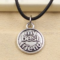 best friends jewlery - 12pcs New Fashion Tibetan Silver Pendant my best friend mm Necklace Choker Charm Black Leather Cord Factory Price Handmade Jewlery