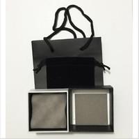 al por mayor collar de la caja de regalo negro-El sistema de la joyería de la marca de fábrica de la manera 12sets / lot fijó para la exhibición negra de la caja de regalo de los bolsos de mano del papel del collar de los pendientes