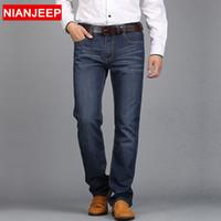 Wholesale NIANJEEP Middle aged men s big size casual brand spring straight denim jeans man trouser autumn long cowboy pant