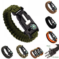 Wholesale 5 in Unisex Outdoor Survival Bracelets Rescue Paracord Wristbands Emergency Rope Flint Fire Starter Buckle Whistle Compass Kits TS0112