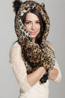Wholesale Brand New spirit hoods cap glove Scarf Fashion Leopard Artificial Fur environmental protection winter warm women B80