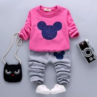 Cheap New Autumn Baby Boy Girl Set Clothes Mickey Minnie Mouse Suit For Toddler Kid Long Sleeve Sweatshirt Top+Pant 2pc Tracksuit Costume