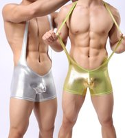 Wholesale Mens Leather Underwear Bodysuit Boxers Silver Man Sexy Singlet one piece Underwear Gold Underwear Gym Wrestling Singlet