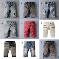 al por mayor balmain para hombre-BALMAIN Biker Jeans Correr Pantalones cortos 2016 Mens Diseñador Cargo Pantalones cortos famosos Balmain Jeans Hombre Jeans Casual Surf Denim cvxb7u