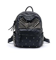 Wholesale Unisex Fashion and Rock Style Black Rivet Faux Leather Backpack Soft and Smooth Hand Feel Good Quality