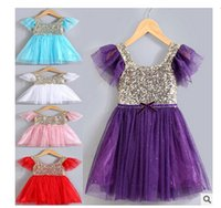 Wholesale Elegant Sequin Flower Girl Dresses Princess Party Baby Girl Clothes Pageant Kid Prom First communion dresses