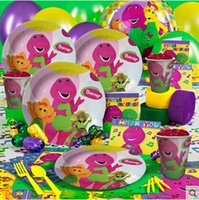 barney birthday favors - 68Pcs Kawaii Barney Character Theme Party Supplies Birthday Party Decoration For People Favors And Gifts Disposable Set