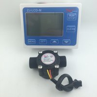 Wholesale sets G1 quot Flow Water Sensor Meter Digital LCD Display Quantitative Control L min