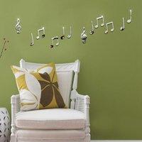 bathroom symbol - Creative D music symbol DIY combination mirror decorative wall stickers acrylic crystal stereo TV background wall stickers