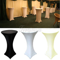 Wholesale 5pcs White Black Ivory Stretch Lycra Dry Bar Spandex Table Cover Cocktail Tablecloth Wedding Event Party Decorations cm cm