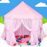 Precio de Los niños juegan-Portable <b>Kids Play</b> tiendas de campaña Ultralarge esgrima para niños Baby Fence niñas Princesa Castillo interior Juguetes al aire libre Casa de juegos VE0071