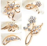 ball broaching - Elegant Vintage Gold Filled Silver Tone Faux Pearl Crystal Flower Pin Brooch Wedding Costume Jewelry Broach