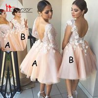 Wholesale 2016 Sexy Backless Short Homecoming Dresses A line Full Lace Top with Flowers Above Mini Tulle Prom Dress Formal Gowns