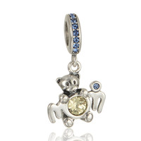 bear necklaces - GW Mom Bear Charms dangles made from sterling silver fit pandora style bracelets or necklace for women pendant No70 lw S297
