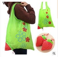 Wholesale New Creative Nylon Cute Strawberry Shopping Bag Reusable Eco Friendly Shopping Tote Portable Folding Foldable Bags pouch handbag Go Green
