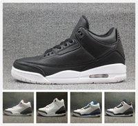 al por mayor cyber-2016 Cyber Monday Retro 3 zapatos de baloncesto para hombre Zapatillas True Blue blanco negro cemento al aire libre entrenador cuero blanco 3s