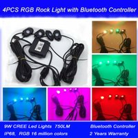 Wholesale 4pcs rgb v Cree Led Lights RGB Truck Rock Lights IP68 Jeep LED Rock Lights Bluetooth Remote Controller