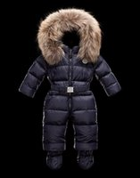 Wholesale Winter Baby Snowsuits Girl Down Coats Boy Jumpsuits Children Outerwear Kids Down Jackets Natural Raccoon Fur Cap Removable