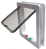 Wholesale Indoor and Outdoor Way Locking Cat Door Cat Safe Flap Lockable for Small Dog Puppy White sizes available Exit and Entryi