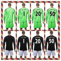 batik print - Uniforms Kit Soccer Jersey Manchester De Gea Johnstone S Romero united Goalkeeper Black Green Long Sleeve Jersey