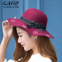 Wholesale Autumn Korean ancient customs imitation wool hat tide British ladies casual hat bowler all match flow caps