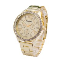 analog ground - Luxury Women Watch New Fashion Gold Grind arenaceous dial Rhinestone Quartz Watch Men Casual Wristwatch Relogio Clock Hours