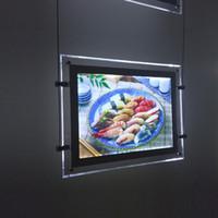 achat en gros de kit de lumière câble gros-Vente en gros Agent immobilier fenêtre Cable Wire Hanging Kits Acrylique LED Frame Affichage lumineux Fenêtre Signs Light Box
