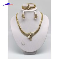 Wholesale Broken glass Mosaic gold plated pearl crystal necklace earrings bracelet the wings of the angel jewelry fashion jewellery set