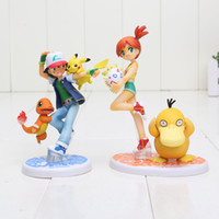 Wholesale 10cm Poke Go Ash Ketchum Pikachu Charmander Misty Kasumi Psyduck Togepi PVC Action Figure Toy Model Christmas Gift