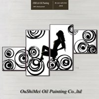animal portrait artist - Skilled Artist Hand Painted Abstract Black And White Nude Lady Oil Painting On Canvas Abstract Nude Woman Portrait Oil Paintings