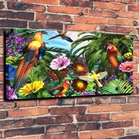 Wholesale Jungle Parrots Avian Art Wildlife Bird Wallpaper Print Oil Painting on Canvas Wall Art Picture Home Decoration No Framed