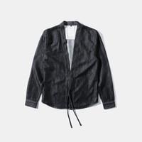 Wholesale Fall Vintage Harajuku Kimono Jacket Denim Style Judo Jacket Fashion Men Trench Brand Clothing W16