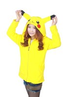 Wholesale 2016 game Japan Pok Pikachu Hoody Coat Jacket Ears Face Tail Zip Hoodie Hoody Warm Sweatshirt Costume Good Quality FS