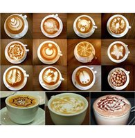 Wholesale 16Pcs set Creative Nice Coffee Barista Stencils Template Strew Pad Duster Spray Art