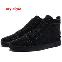authentic diamonds - New arrival fashion style authentic brand red bottom sneakers men women black genuine leather casual shoes diamond Flats Rhinestone Shoes
