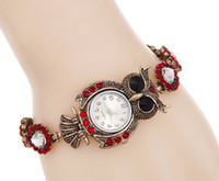 antique ladies watch - Fashion Owl Bracelet Watch Hot sales retro diamond bracelet watch ladies watch personality full diamond owl quartz bracelet watch