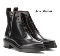 acne boots - Original Quality Hot Acne Studios Lace Up Pointed Toe Short Boots Black Patent Leather Martin Boots Side Zipper Straps Fashion Acne Shoe