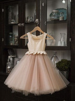 Wholesale 2017 Beige Color Beautiful Chiffon A line Sleeveless Pink Flower Girl Dresses For Wedding Lovely Princess Girls Pageant Gown Party Dresses