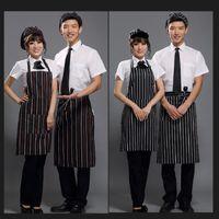 bib chef apron - 150pcs Black Adult Apron Kitchen Restaurant Bar Chef Cook Waiter Polyester Stripe Bib Half Apron Cook Cleaning Avental Delantal Tools ZA0412