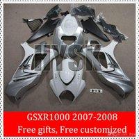 Cubierta del cuerpo compite con la bici de Suzuki 2007 2008 GSXR 1000 07 08 GSX-R 1000 07-08 GSXR1000 2007-2008 K7 Blanco Plata OEM mejor calidad carenado Kits