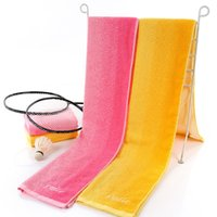 Wholesale 2016 Cheap Yellow Pink Towel Manufacturers Gradient Gram Thick Towels Fitness Lengthened Sports HY1254